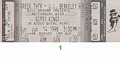 Gipsy Kings 1990s Ticket from Greek Theatre on 14 Jun 98: Ticket One