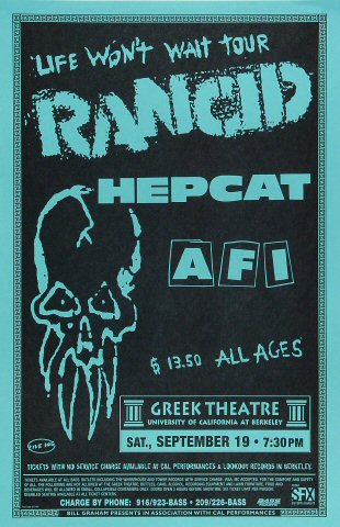 "Rancid Poster from Greek Theatre on 19 Sep 98: 11"" x 17"""