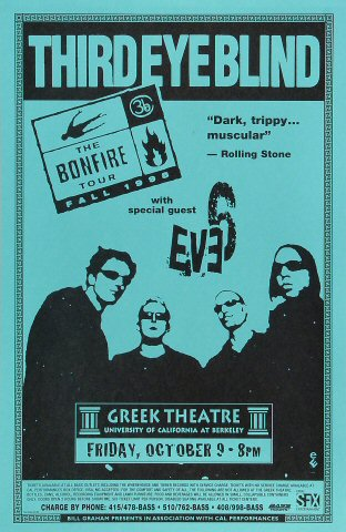 "Third Eye Blind Poster from Greek Theatre on 09 Oct 98: 11"" x 17"""