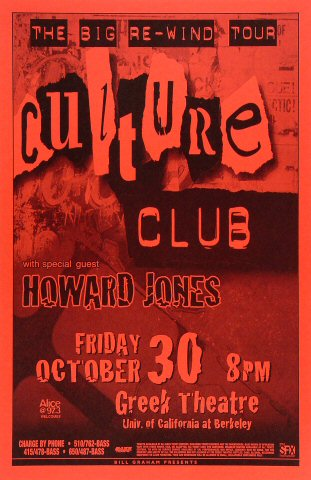 "Culture Club Poster from Greek Theatre on 30 Oct 98: 11"" x 17"""