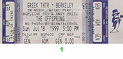 The Offspring 1990s Ticket from Greek Theatre on 18 Jul 99: Ticket One