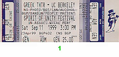 Steel Pulse 1990s Ticket from Greek Theatre on 11 Sep 99: Ticket One