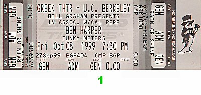 Ben Harper 1990s Ticket from Greek Theatre on 08 Oct 99: Ticket One