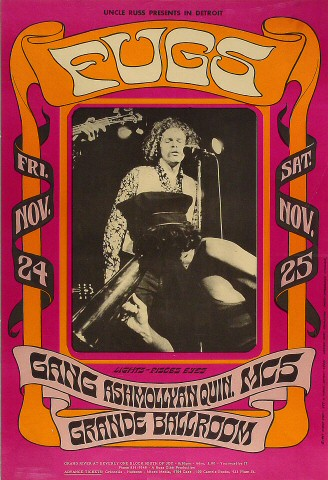 "The Fugs Poster from Grande Ballroom on 24 Nov 67: 15 1/8"" x 22 1/8"""