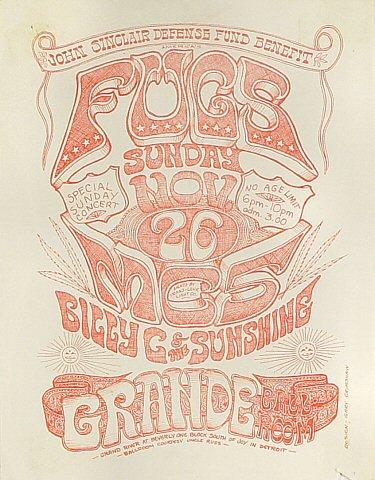 """The Fugs Handbill from Grande Ballroom on 26 Nov 67: 8 1/2"""" x 11"""