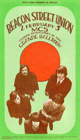 "Beacon Street Union Handbill from Grande Ballroom on 02 Feb 68: 4 1/8"" x 7 1/8"""