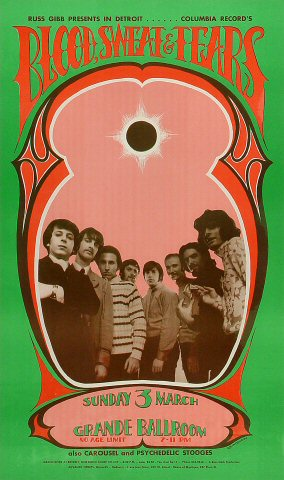 "Blood, Sweat and Tears Poster from Grande Ballroom on 03 Mar 68: 13"" x 22"""
