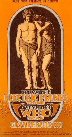 "The Electric Prunes Postcard from Grande Ballroom on 08 Mar 68: 3 3/4"" x 7"""