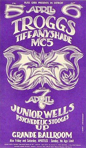 "The Troggs Postcard from Grande Ballroom on 05 Apr 68: 4 3/16"" x 7 1/8"""