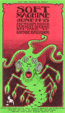 "The Soft Machine Postcard from Grande Ballroom on 14 Jun 68: 4 3/16"" x 7 1/8"""