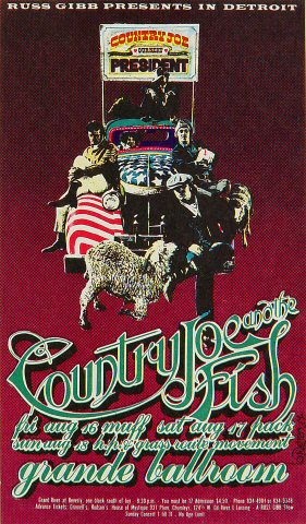 "Country Joe & the Fish Postcard from Grande Ballroom on 16 Aug 68: 4 1/4"" x 7 1/4"""