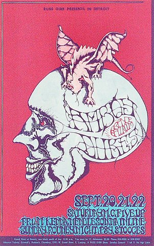 "The Amboy Dukes Postcard from Grande Ballroom on 20 Sep 68: 5 3/8"" x 8 1/2"""