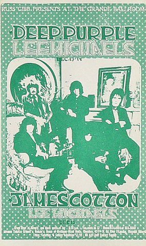 "Deep Purple Postcard from Grande Ballroom on 13 Dec 68: 5 1/4"" x 7 1/16"""