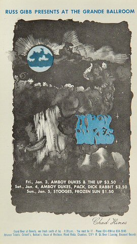"The Amboy Dukes Postcard from Grande Ballroom on 03 Jan 69: 4 1/4"" x 7 1/2"""