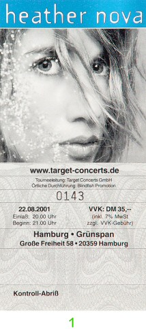 Heather Nova Post 2000 Ticket from Grunspan on 22 Aug 01: Ticket One
