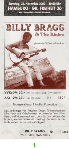 Billy Bragg Post 2000 Ticket from Grosse Freiheit on 25 Nov 00: Ticket One