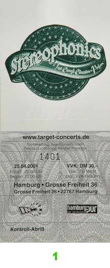 Stereophonics Post 2000 Ticket from Grosse Freiheit on 25 Apr 01: Ticket One