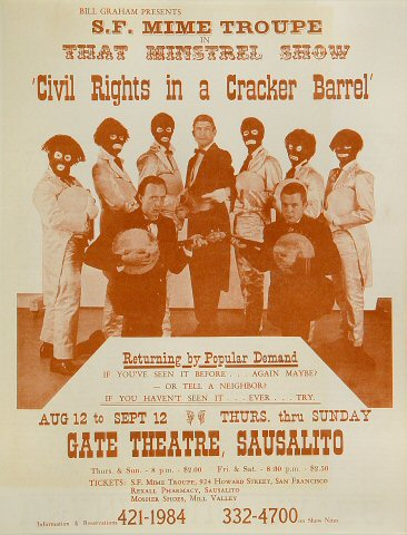 """San Francisco Mime Troupe Postcard from Gate Theatre on 12 Aug 65: 8 1/2"""" x 11"""""""