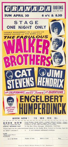 "The Walker Brothers Handbill from Granada Theatre on 30 Apr 67: 5 1/2"" x 11 1/2"""