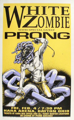 "White Zombie Poster from Hara Arena on 04 Feb 94: 17 3/4"" x 28 3/8"""