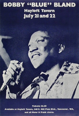 "Bobby ""Blue"" Bland Poster from Hayloft Tavern on 21 Jul 78: 12 1/4"" x 17 3/4"""