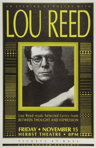 "Lou Reed Poster from Herbst Theatre on 15 Nov 91: 11"" x 17"""