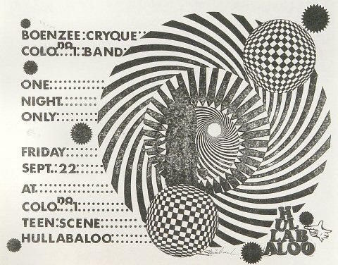 "Boenzee Cryque Handbill from Hullabaloo Club on 22 Sep 67: 8 1/2"" x 11"""