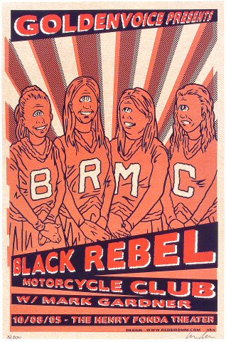 "Black Rebel Motorcycle Club Poster from Henry Fonda Theatre on 08 Oct 05: 12"" x 18"""