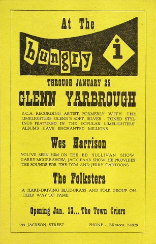 "Glenn Yarbrough Handbill from Hungry I on 25 Jan 64: 5 1/2"" x 8 1/2"""