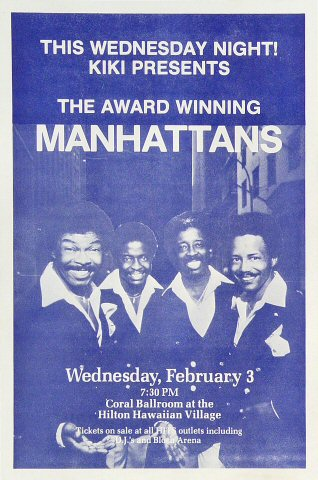"The Manhattans Handbill from Hilton Hawaiian Village Hotel on 03 Feb 82: 5 3/4"" x 8 1/2"""
