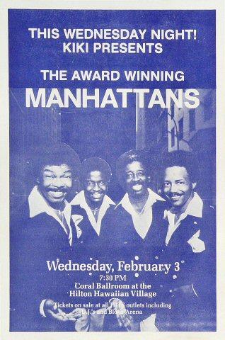 "The Manhattans Handbill from Hilton Hawaiian Village Hotel on 03 Feb 82: 5 3/4"" x 8 1/2"""