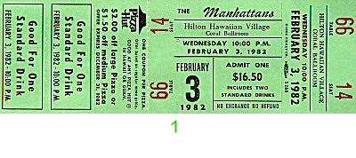 The Manhattans 1980s Ticket from Hilton Hawaiian Village Hotel on 03 Feb 82: Ticket One