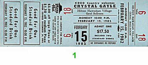 Crystal Gayle 1980s Ticket from Hilton Hawaiian Village Hotel on 15 Feb 82: Ticket One