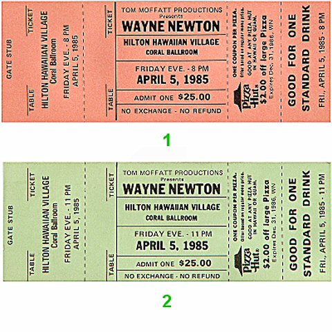 Wayne Newton 1980s Ticket from Hilton Hawaiian Village Hotel on 05 Apr 85: Ticket Two