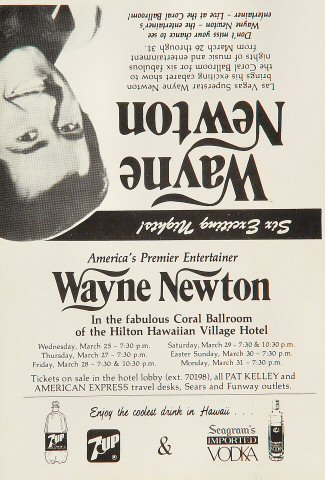 "Wayne Newton Handbill from Hilton Hawaiian Village Hotel on 26 Mar 86: 5 1/2"" x 8 1/8"""