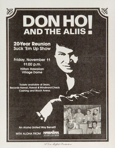 "Don Ho Handbill from Hilton Hawaiian Village Hotel on 11 Nov 88: 8 1/2"" x 11"""