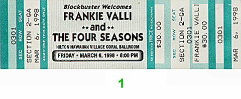 Frankie Valli 1990s Ticket from Hilton Hawaiian Village Hotel on 06 Mar 98: Ticket One