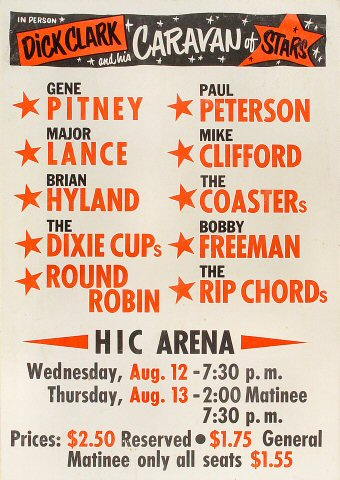 "Gene Pitney Poster from Honolulu International Center on 12 Apr 64: 14"" x 20"""