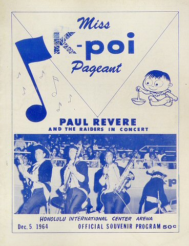 "Paul Revere and the Raiders Program from Honolulu International Center on 05 Dec 64: 8 3/8"" x 10 7/8"""