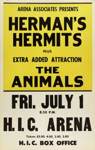"Herman's Hermits Poster from Honolulu International Center on 01 Jul 66: 14 1/8"" x 22"""