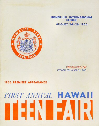 "The Young Rascals Program from Honolulu International Center on 24 Aug 66: 8 1/2"" x 10 3/4"""