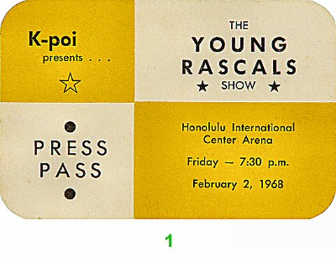 The Young Rascals Backstage Pass from Honolulu International Center on 02 Feb 68: Pass 1
