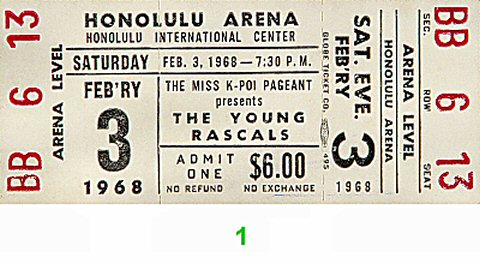 The Young Rascals 1960s Ticket from Honolulu International Center on 03 Feb 68: Ticket One