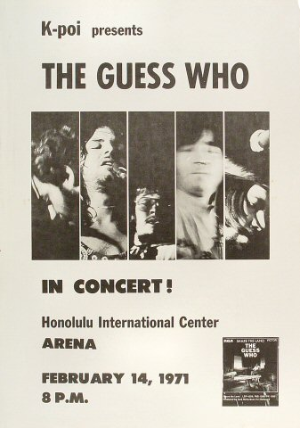 "The Guess Who Poster from Honolulu International Center on 14 Feb 71: 14"" x 20"""