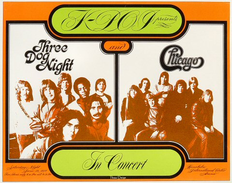 "Three Dog Night Poster from Honolulu International Center on 19 Jun 71: 11 3/8"" x 14 1/4"""