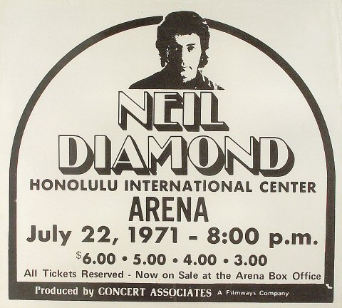 "Neil Diamond Poster from Honolulu International Center on 22 Jul 71: 17 1/8"" x 19"""