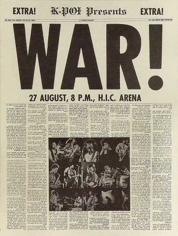 War Poster from Honolulu International Center on 27 Aug 71: 19&quot; x 25 1/8&quot;