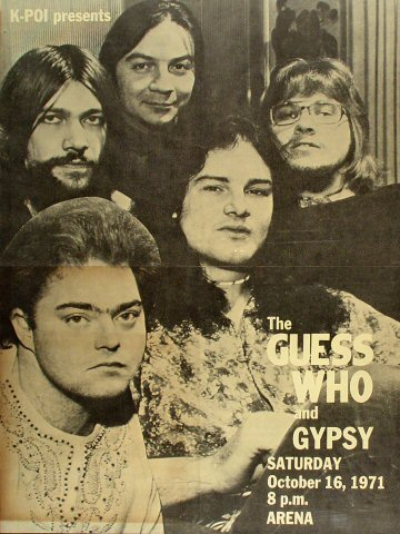 "The Guess Who Poster from Honolulu International Center on 16 Oct 71: 16 3/8"" x 21 7/8"""