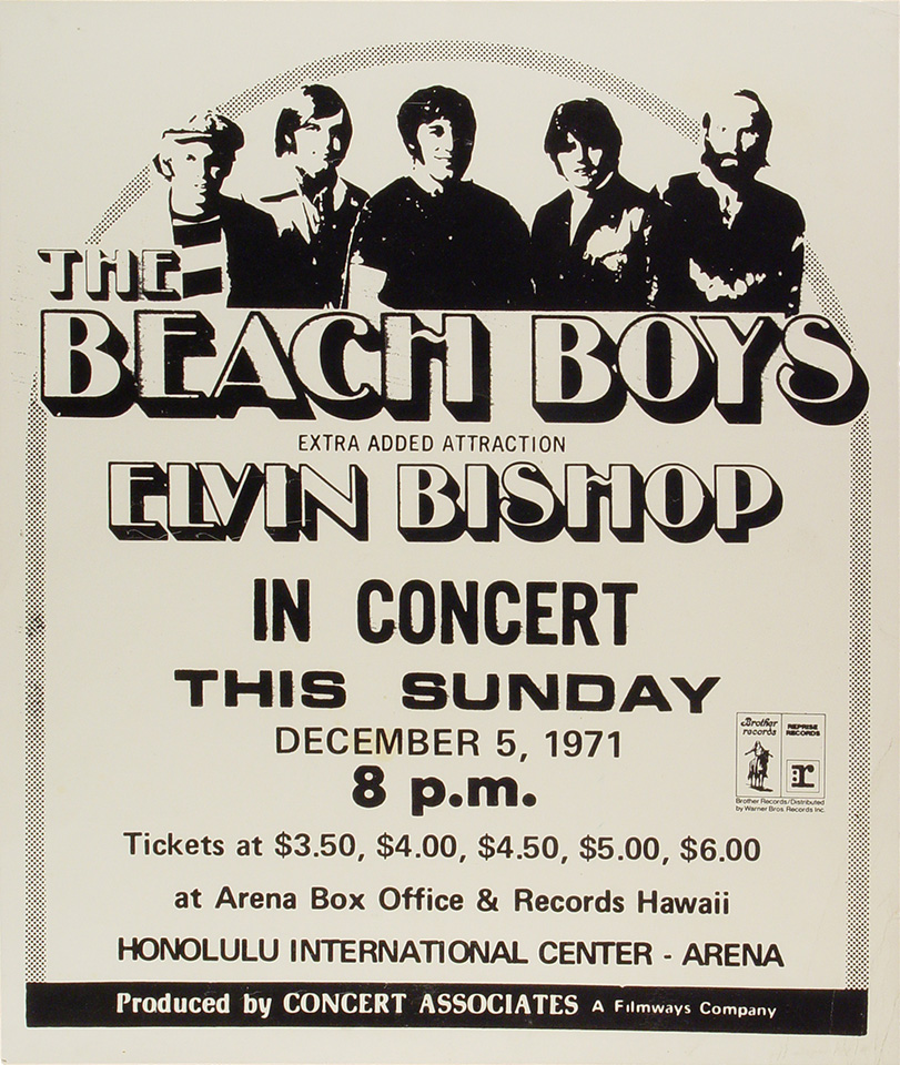 "The Beach Boys Poster from Honolulu International Center on 05 Dec 71: 15 1/4"" x 17 7/8"""