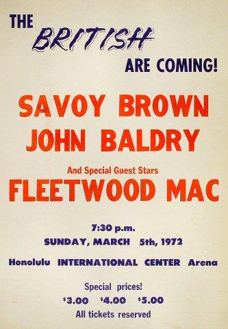"Savoy Brown Poster from Honolulu International Center on 05 Mar 72: 17"" x 24"""